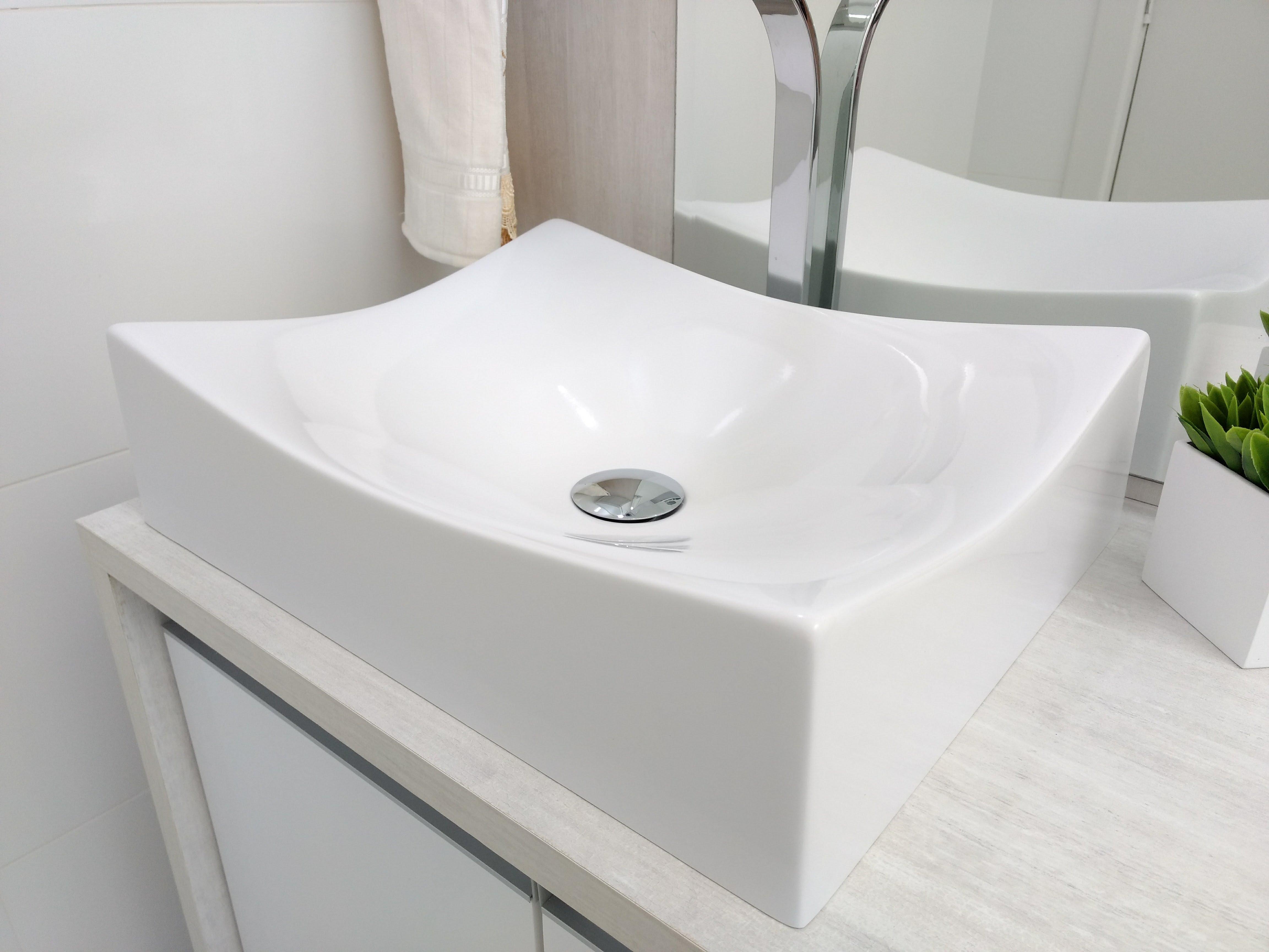 Cuba Apoio Pia Banheiro Folha 44cm X 35 5cm Macae Branco Branco Brilho Madeiramadeira